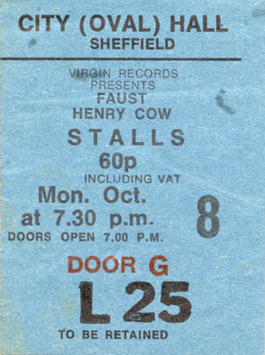 UK Tour 1973 - Sheffield (with Gong - Henry Cow cancelled)